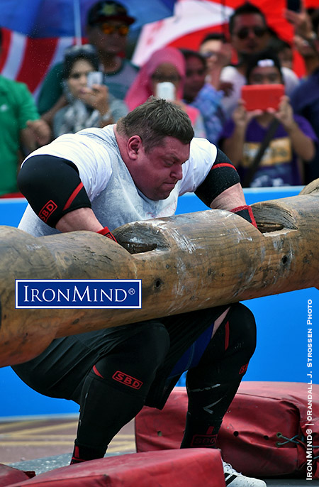 Zydrunas Savickas attempting a 227.5 log for a new world record, at World's Strongest Man 2015. IronMind® | ©Randall J. Strossen photo