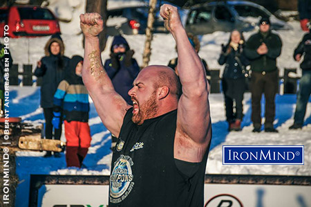 Canadian strongman Jean-Francois celebrates winning the 2016 World's Strongest Viking. IronMInd® | ©Bernt Andreassen photo